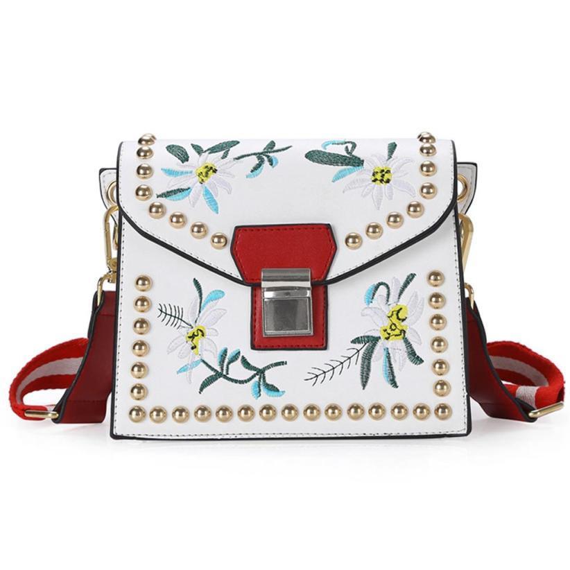 Leather Handbag - Flower Shoulder Bag