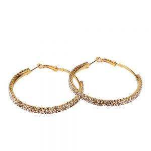 Fashion Sparkling Diamond Jewelry Popular Geometric Double Circle Earrings