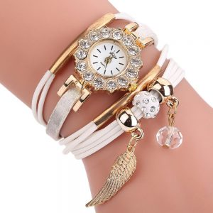Watches Women Popular Quartz Watch Luxury Bracelet Flower Gemstone Wristwatch
