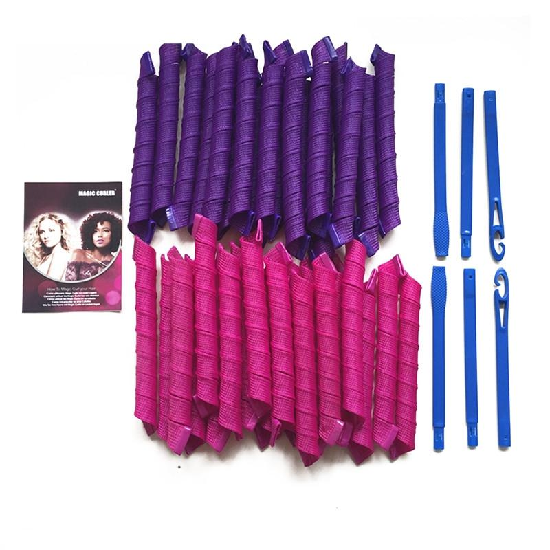 40pcs 55cm DIY Hair Magic Curler Long Spiral Curls Top Up Pack with 5pcs Curling Rod & PVC Packing Bag