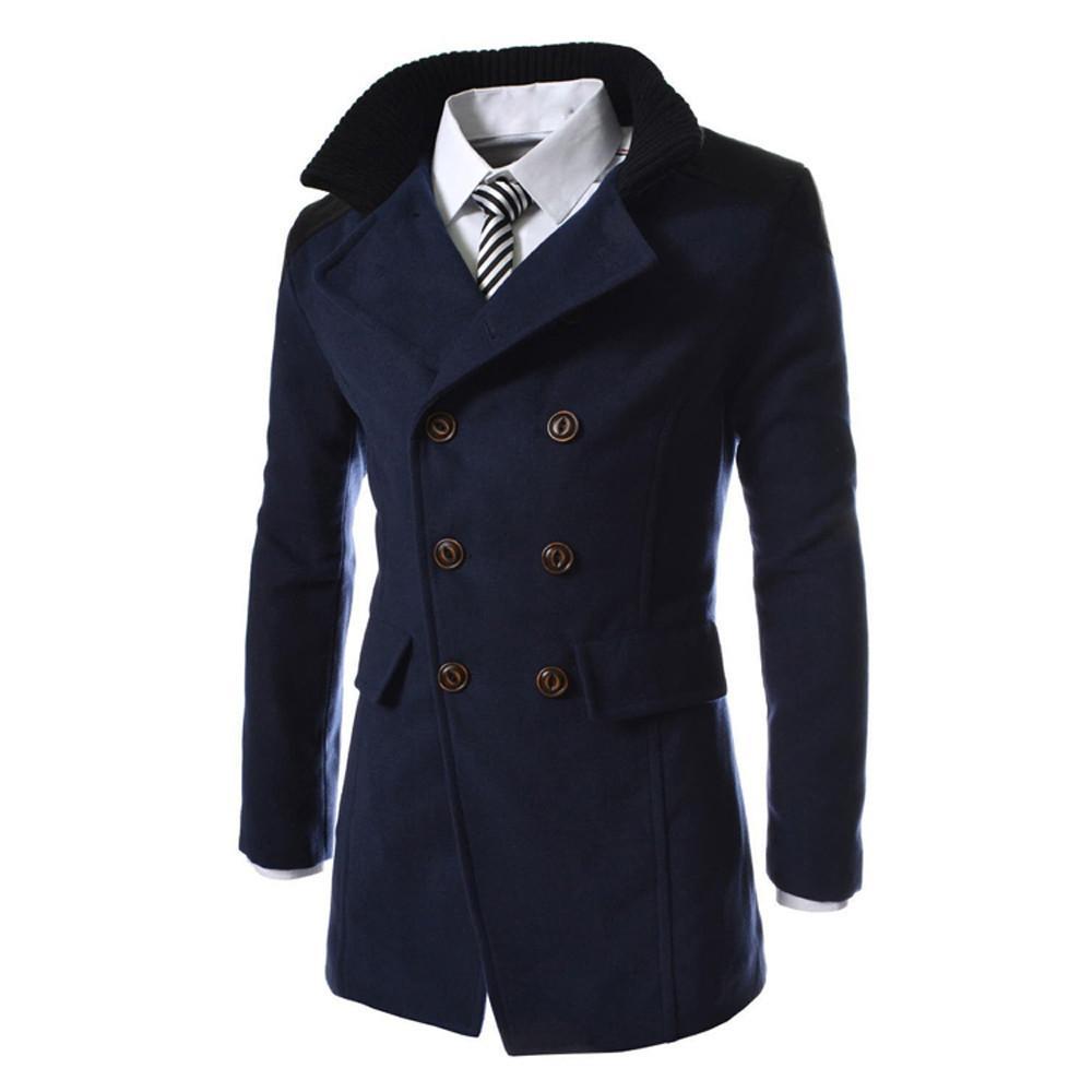 Men Jacket Warm Winter Trench Long Outwear Button Smart Overcoat