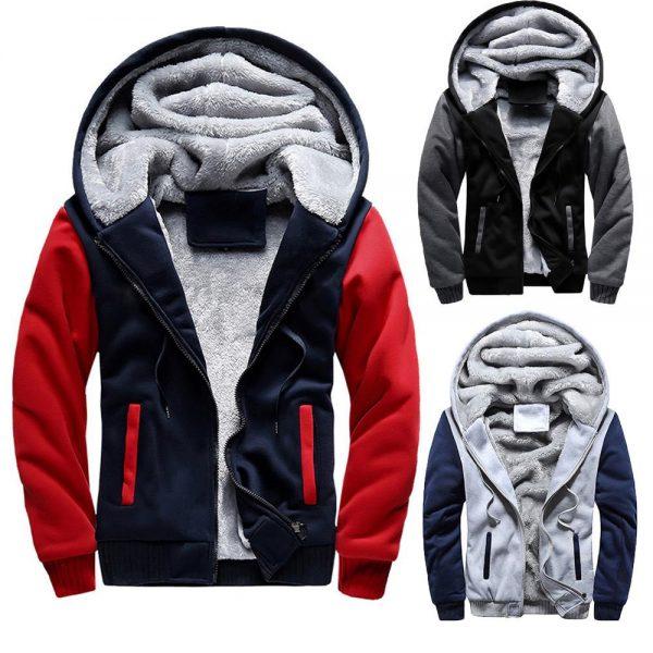 Mens M-5XL Hoodie Winter Warm Fleece Zipper Jacket Outwear Coat
