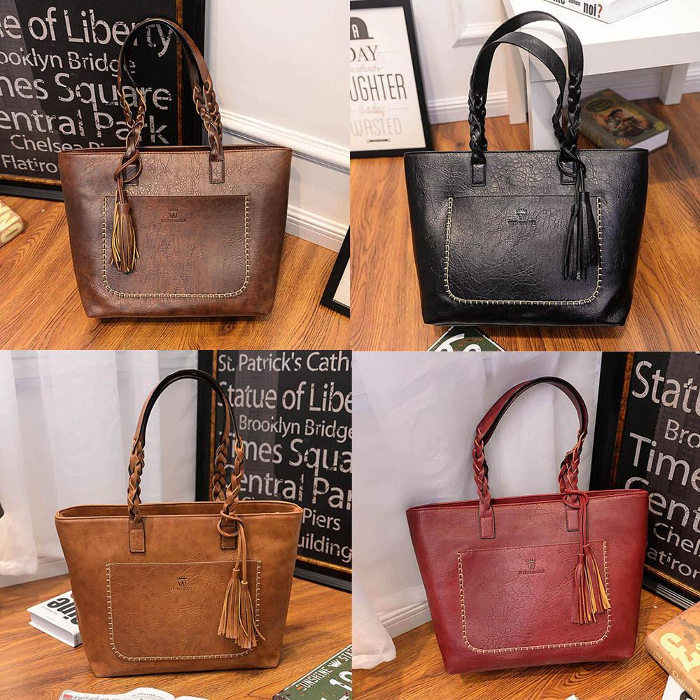 Women's Leather Tassels Handbag Shoulder Messenger Bag Ladies Satchel Tote Bags