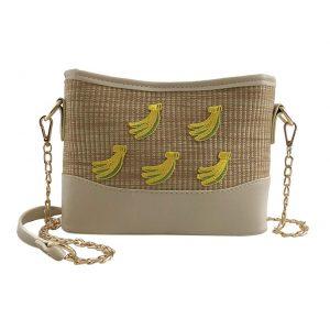 Summer Straw Bag Woven Shoulder Bag Fruit Printed Beach Bag Crossbody Bag