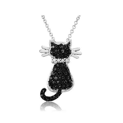 "Silver Overlay Black Diamond Accent Cat Pendant with 18"" Chain"