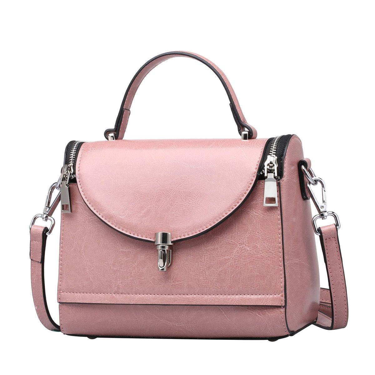 Double Zipper Leather Shoulder Bag Cross-body Satchel Casual Handbag for Women and Girls