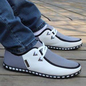 Men's Striped Lace Shoes - Blue