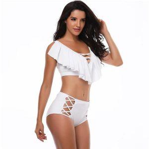 European Style White Plus Size Bikini