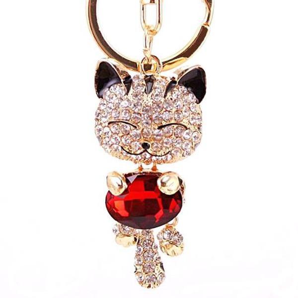 Rhinestone Cat Keychain in 18K Gold Plating
