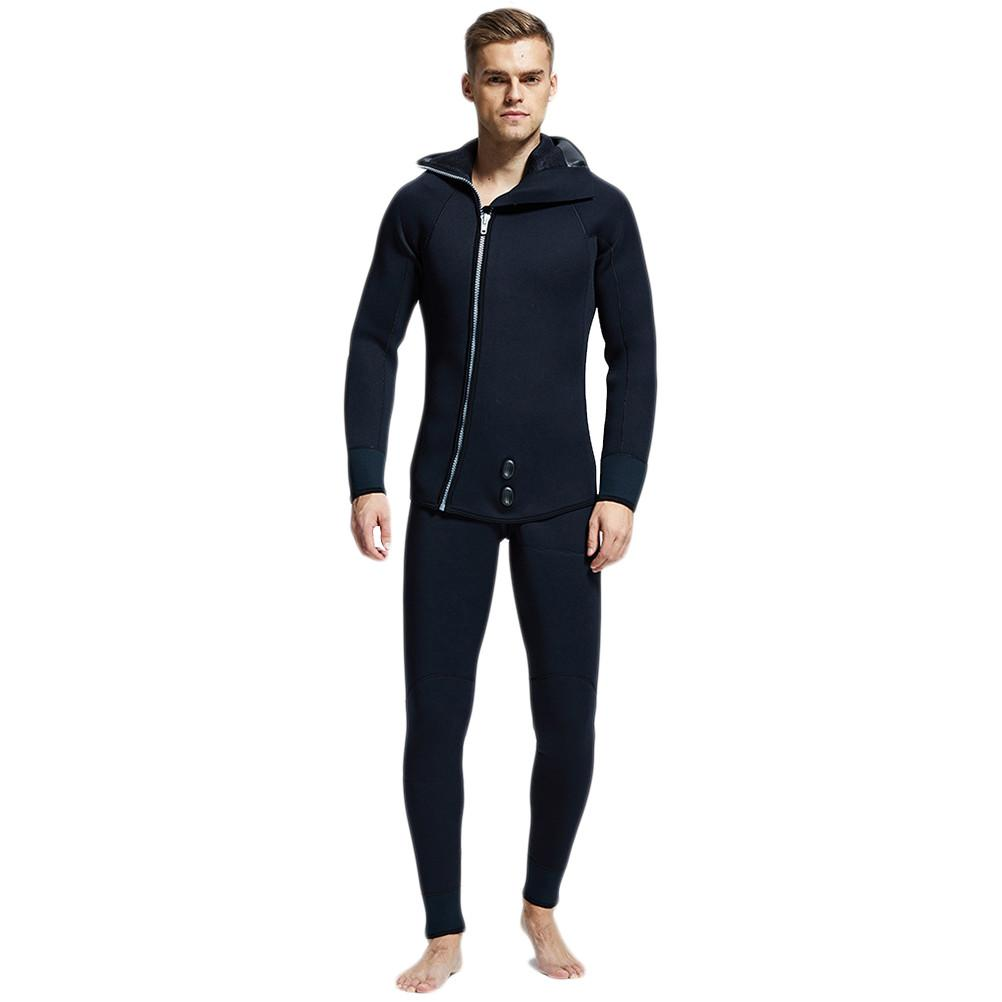 Men 5MM Thick Winter Two-piece Diving Suit Hooded Design Wetsuit with Headgear